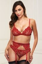BACI 3PC LACE GARTER SET RED BAC3175RED - S/M