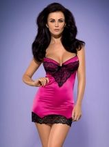 Set 2 piese Obsessive, Roseberry chemise & thong - S/M