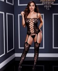 Baci - Corset Front Suspender Lace Bodystocking O/S