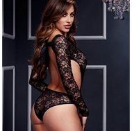 Black Lacy Bodysuit Back Cutout 1 Pc O/S