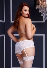 Baci - White Rose Open Crotch Boyshort Panty XL