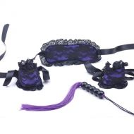 Purple Lace Mask and Wrist Restraint Set
