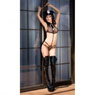Black Police Party Costume Set includes: Body,Hat, and Handcuffs CR 4061 - L/XL