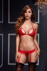 LACY BRA GARTER OPEN CROTCH PANTY 2P RED - OS