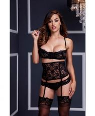 Lacy Bra/ Cincher/ Panty 3 Pc Set O/S