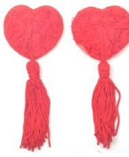 Red Lace Rose Nipple Tassels