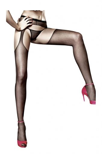 SHEER SUSPENDERHOSE, BACI, BLACK - S/L