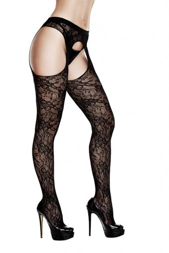 CROTCHLESS LACE SUSPENDER HOSE AD2031 - OS