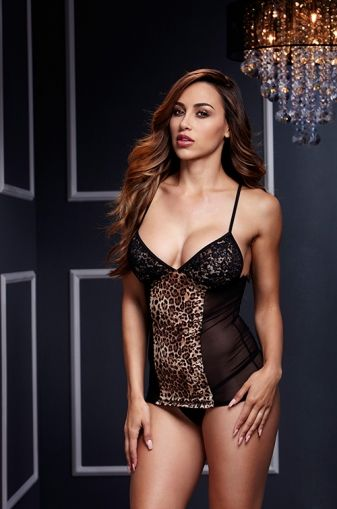 BASQUE W/ GARTER STAYS NO PANTY, LEOPARD - OS