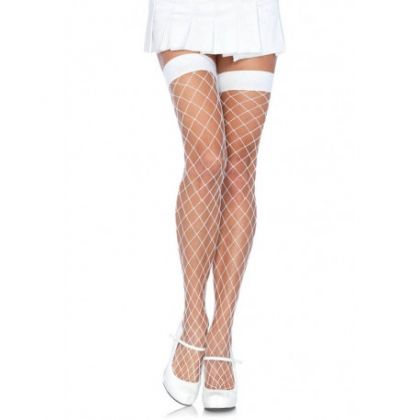 Fence Net Thigh Highs - WHITE HOSIERY - O/S