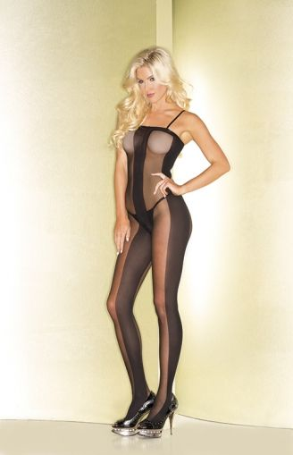 SHEER BODYSTOCKING WITH OPAQUE CENTER BWB81- OS