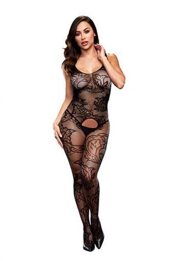 CROTCHLESS JACQUARD BODYSTOCKING BAC5006BLK - OS
