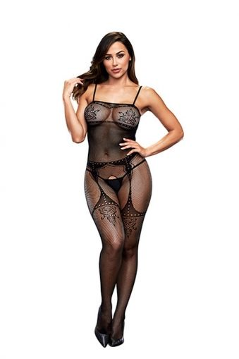 CROTCHLES JACQUARD BODYSTOCKING BAC5004BLK - OS