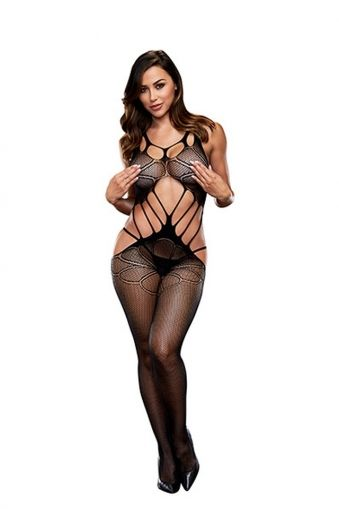 CRISS CROSS CROTCHLESS BODYSTOCKING BAC5008BLK - OS