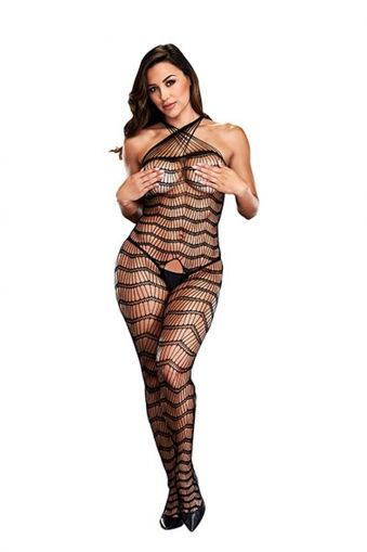 CRISS CROSS CROTCHLESS BODYSTOCKING BAC5002BLK - OS