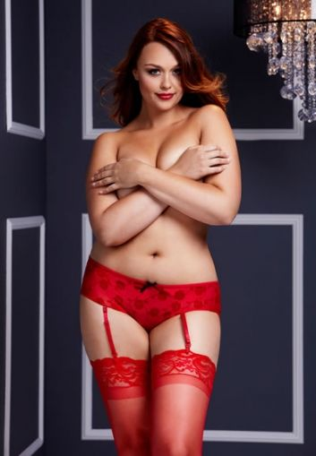 Baci - Red Rose Open Crotch Boyshort Panty - QS