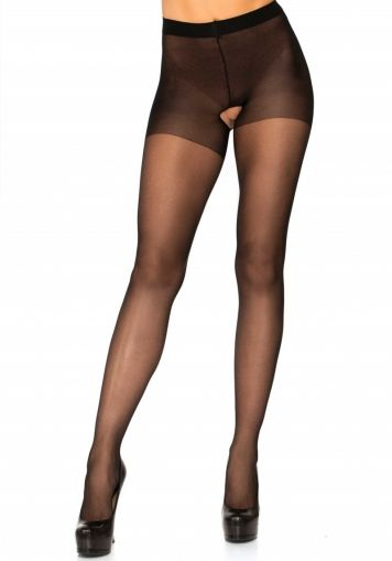 Sheer Crotchless Pantyhose Leg Avenue, black - Plus Size