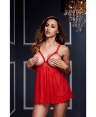Red Sheer Babydoll w/ Open Cup Bra Panty O/S