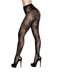 Baci - Rose Floral Lace Pantyhose One Size