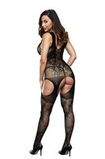 CROTCHLESS JACQUARD BODYSTOCKING BAC5015BLK - OS