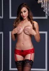 Baci - Red Rose Open Crotch Boyshort Panty - S