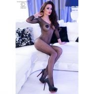 Black long sleeve Bodystocking CR 4307 - S/M