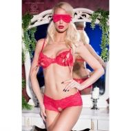 Red Open Bra 3 Pcs Set CR 4193 - L