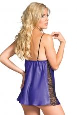 Satin Dress With Lace - Purple, BW1634PR - L