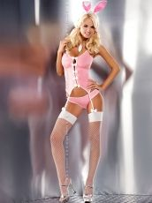 Set 4 piese Obsessive, Bunny suit costume, pink - L/XL