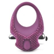 Purple Color Silicone Vibrating Cock Ring with Clitoral Stimulator