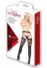 70205 Wetlook Garter Tights, Kitten Allure, black - OS