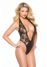 Plunging Left Lace Teddy, Kitten Allure, black - OS