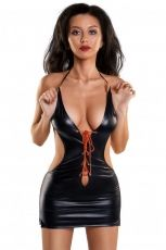 Glossy Shiny Wetlook Julie dress, Toyfa, black - M