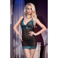 Set 2 piese Chilirose CR 4211, Black Blue Babydoll + String - S