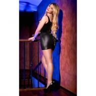 Black Wetlook Minidress CR 4062 - S/M