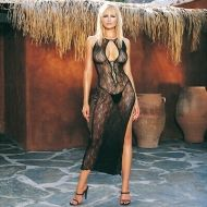 728536 SWIRL LACE LONG DRESS W/LACE UP FRONT W/G-STRING  BLK O/S