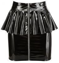 Vinyl Skirt with Peplum black, Orion - M