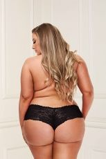 SATIN LACE BOYSHORT BAC6010, BLACK - XL/2XL