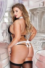 AT YOUR SERVICE FRENCH MAID COSTUME BAC1362 - PLUS SIZE