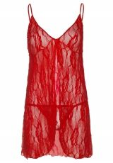 Rose Lace Babydoll Leg Avenue, Red - Plus Size