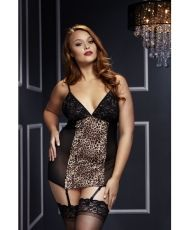 Baci - Leopard Basque & Garter Stays No Panty Q